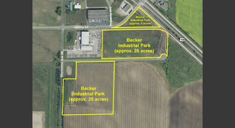 Aerial photo of Becker site