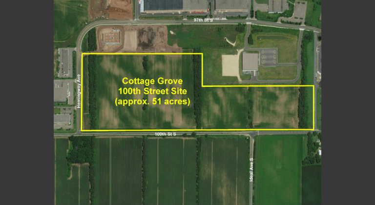 Aerial photo of Cottage Grove 100th Street site