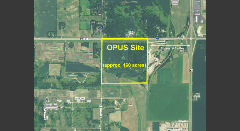 Aerial photo of Rosemount OPUS site.