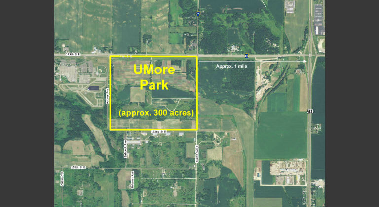 Aerial photo of Rosemount UMore Park site.